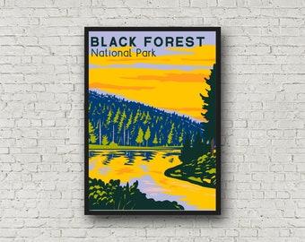 Black Forest Germany Poster, National Park Print Travel Gift, Vintage Style Black Forest Print