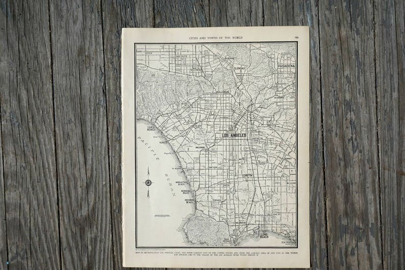 City Of Los Angeles Map Vintage Map Decor City Map Wall Art Etsy