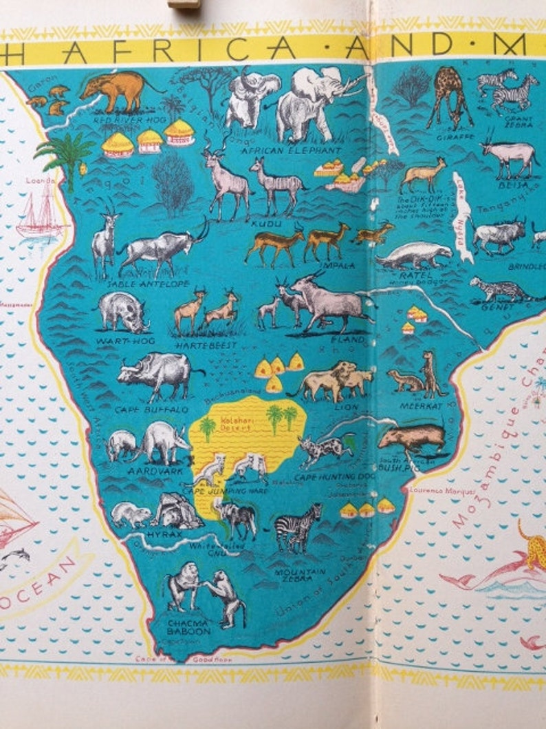 Africa Animals Map Book Page / Travel Nursery Map Wall Art / | Etsy