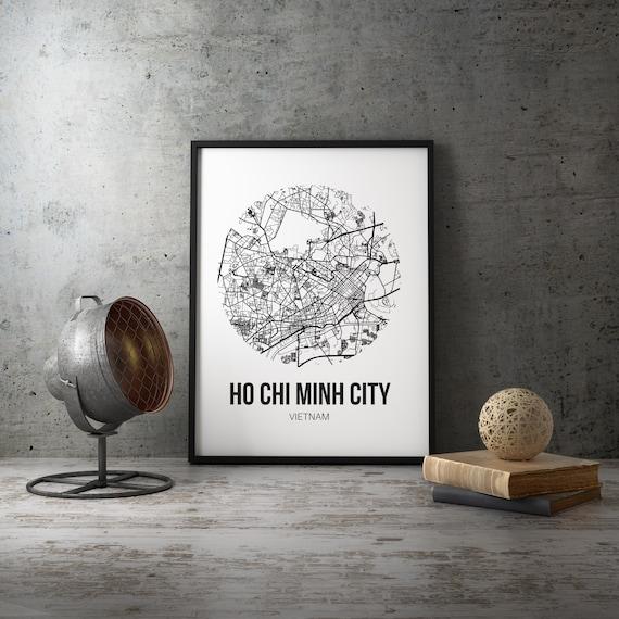 Ho Chi Minh City Print Vietnam Poster World Travel Home Decor Wall Art Print Ho Chi Minh Map Asia Decor