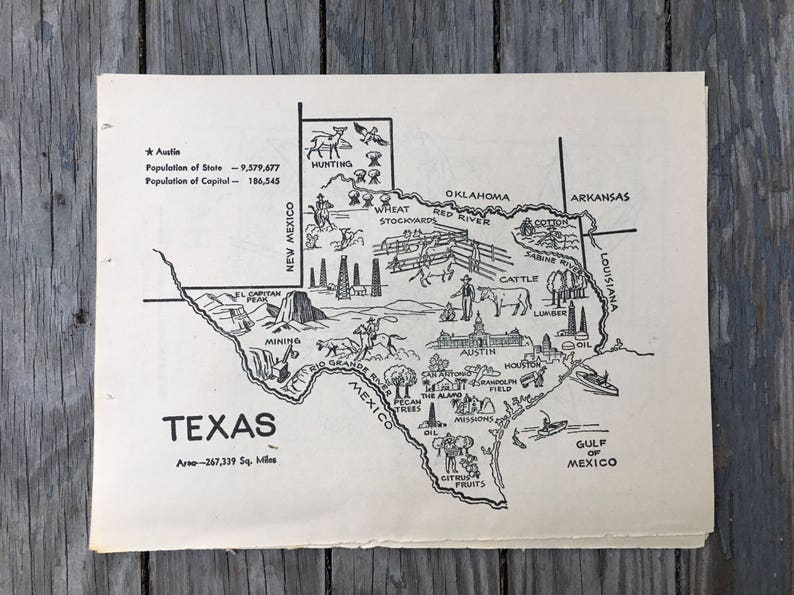 Texas Map Coloring Book Page State Wall Decor Vintage Map | Etsy