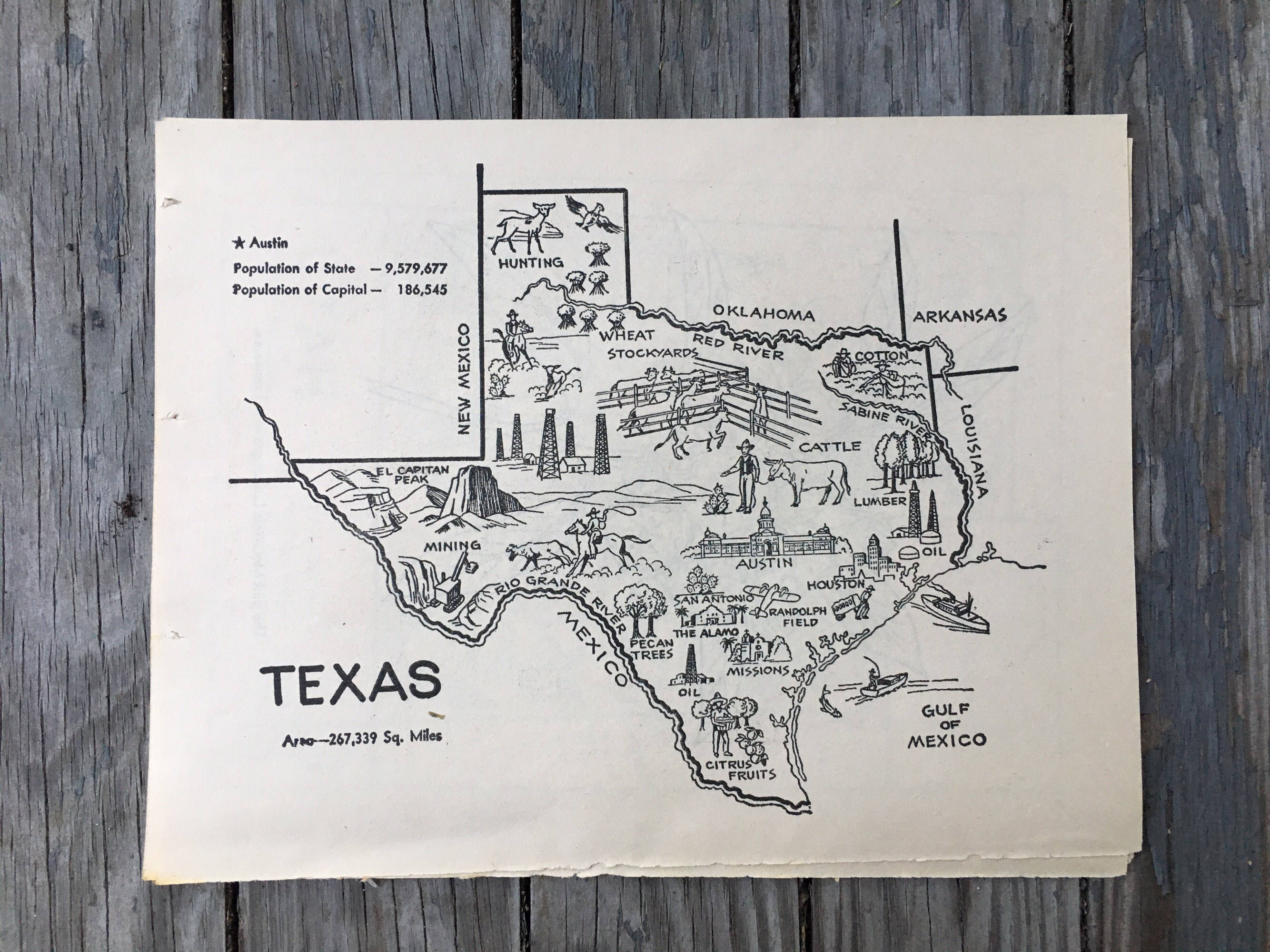 Texas Map Coloring Book Page State Wall Decor Vintage Map   Etsy