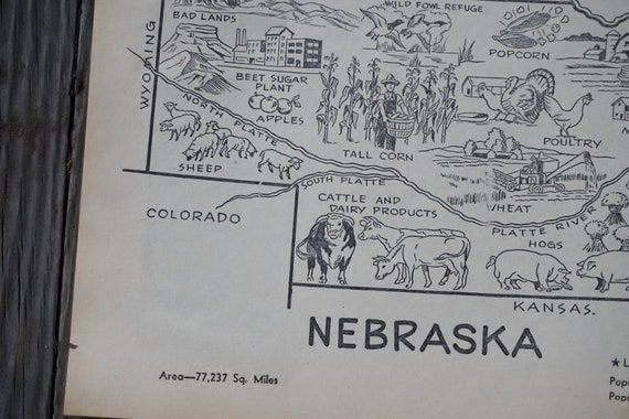 Nebraska Map Art Vintage Map Wall Art 1950s Coloring Book Page Ne State Map Travel Decor State Wall Art Nebraska Decor
