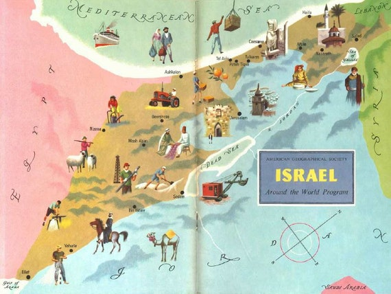 Map of israel old map illustration jerusalem and haifa gumiabroncs Images