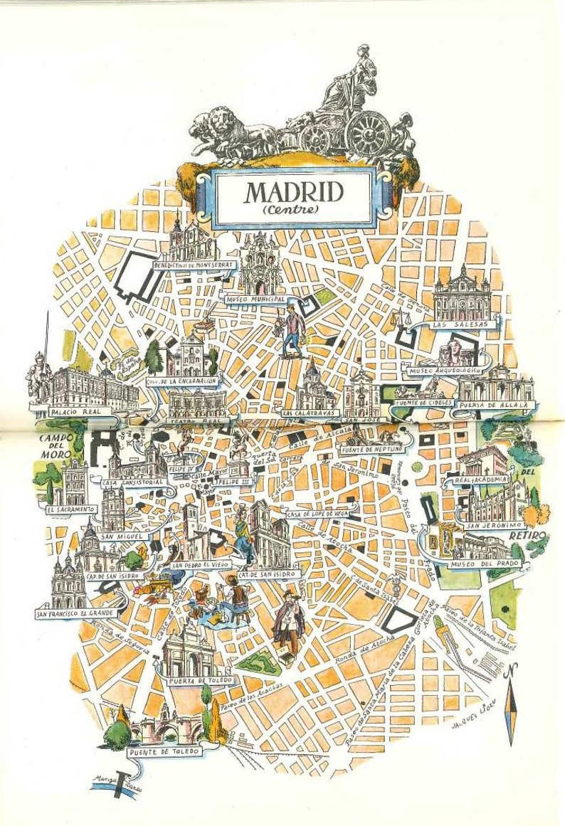 Moron Spain Map.Madrid Map Wall Decor City Of Madrid Spain World Travel Art Etsy
