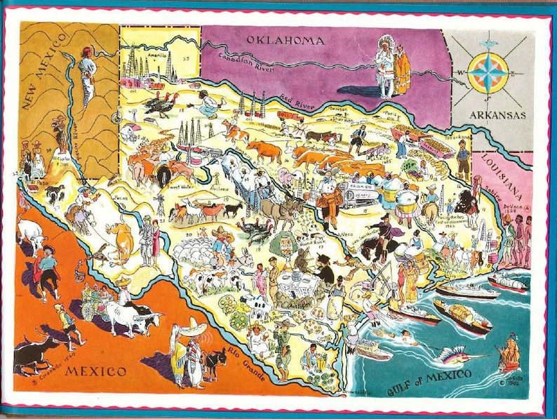 Old Dallas Map.Texas Map Art Vintage Texas 1930s Old State Map With Houston Etsy