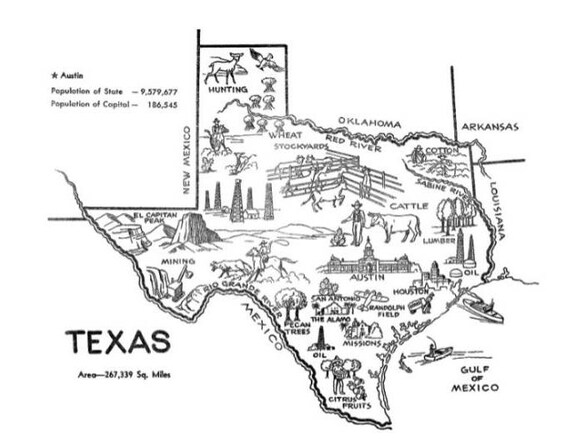 Printable Map Of Texas For Kids.Texas Print Map Digital Art Texas Map State Wall Art Etsy