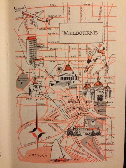 Melbourne Australia City Map.Melbourne Map Decor City Of Melbourne Australia Vintage Etsy