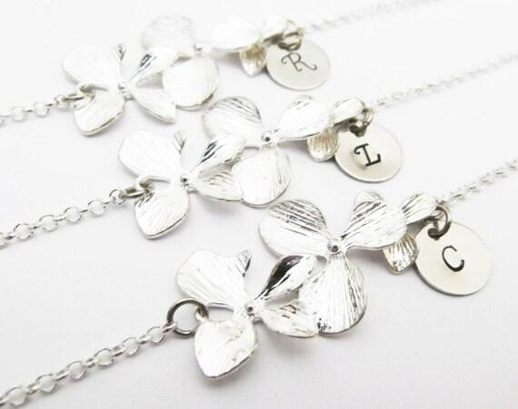 3 initial bracelets, orchid flower bracelets, flower girl gift, orchid bracelets, bridesmaids gift set of three bracelets, set of 3 wedding