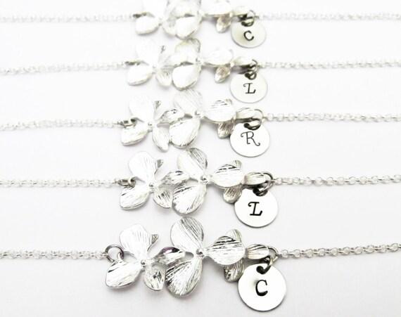 Personalized bracelets, set of 5 orchid flower initial bracelets, flower girl gift, orchid bracelets, bridesmaids gift set of five bracelets