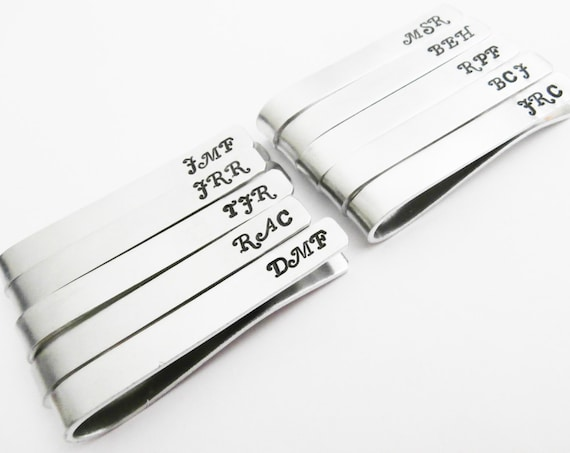 Set of 10 Tie Clips, Personalized Tie Bars, Groomsmen gifts, Hand Stamped Tie Bar Set, Groom's gift Father of the Bride, Wedding Accessories