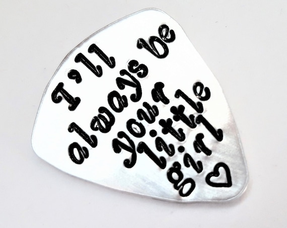 Dad guitar pick Father daughter gift, I'll always be your little girl stepfather present personalized gift for him daddy's birthday gift her