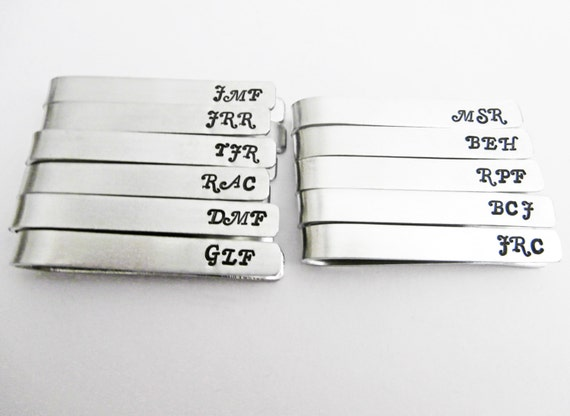 Set of 11 Men's Personalized Tie Clip, Tie Bar, Father of the Bride, Father of the Groom, Men's Wedding Accessories, Custom Tie Clip stamped