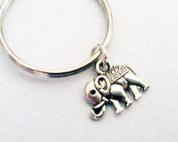 Elephant key chain, silver keychain, elephant charm, elephant key ring, boyfriend gift animal keychain elephant key fob best friend gifts 3D