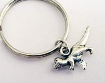 Dinosaur keychain, T-Rex keychain, silver keychain, t rex charm, paleontology gift, best friend gift, tyrannosaurus key ring, animal key fob