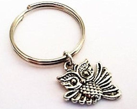 Owl keychain, silver keychain, owl charm, owl key ring, friendship key chain, animal keychain, owl key fob, gift exchange, best friend gifts