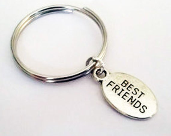 Best friends keychain, silver keychain friendship gift, best friend gift, friendship keychain, birthday gift, best friend jewelry, tiny gift