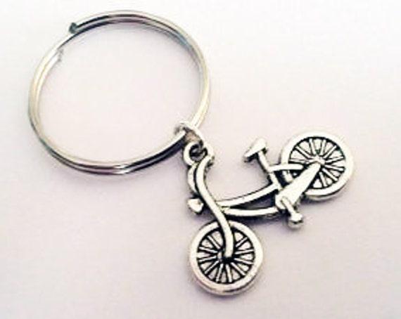Bicycle keychain, silver keychain, bike charm, bicycle key ring, bicycle key chain, bicyclist keychain, biker gift, charm key fob, sport him