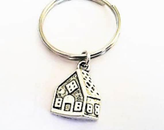 House keychain, house charm, home keychain, personalized keychain, silver key chain, home key ring, sister keychain best friend gift key fob