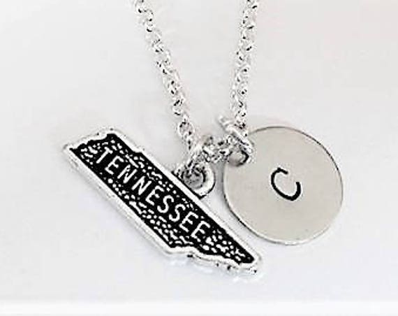 Tiny Tennessee necklace personalized initial charm necklace no matter where Tennessee map necklace Tennessee state jewelry America necklace