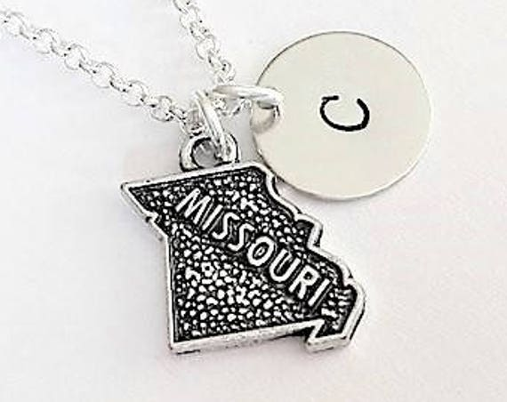 Missouri necklace personalized initial charm necklace no matter where map necklace tiny Missouri state jewelry America necklace monogram