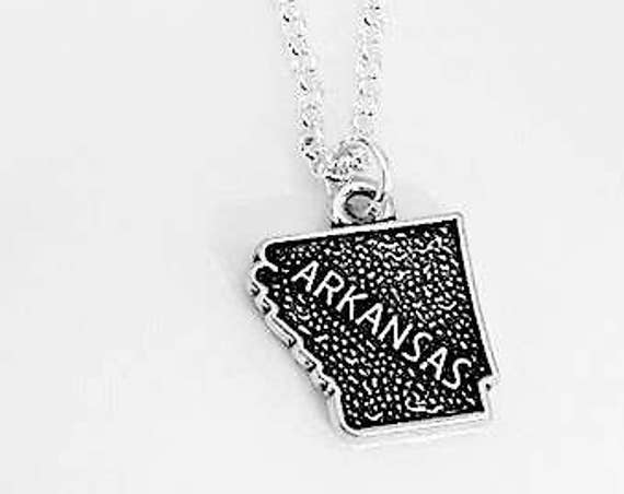Tiny Arkansas necklace home state necklace state necklace, home state jewelry personalized gift for her Arkansas outline map charm silver