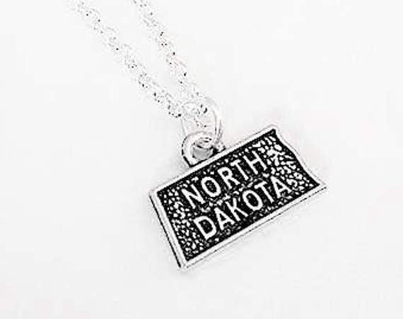 Tiny North Dakota necklace home state necklace, North Dakota charm jewelry personalized gift for her North Dakota outline map charm bff gift