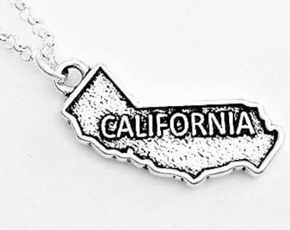 California necklace California state necklace California charm California pendant California map necklace California outline no matter where
