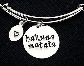 Personalized initial bangle bracelet, silver bangle, Hakuna Matata, custom initial, stackable bangle best friend gift stocking stuffer