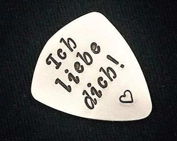 Ich liebe dich guitar pick, personalized plektrum, guitarist gift for him, custom guitar pick, Valentines Day, love guitar pick, plectrum