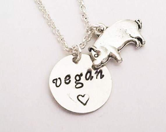 Pig Vegan Necklace, Hand Stamped Necklace, Veg Jewelry Vegetarian Necklace Motivation Inspirational Jewelry, animal rights, cruelty free