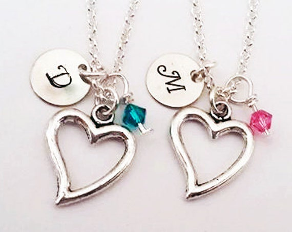 2 Best Friends Necklaces, Initial heart Necklace, personalized jewelry, initial charm, Birthstone Necklace, set of two, friendship jewelry