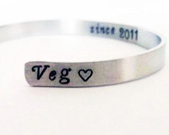 Vegan bracelet, Vegetarian bracelet, Veg Bracelet, handstamped skinny cuff bracelets, veg since, years of veganism her inspirational jewelry