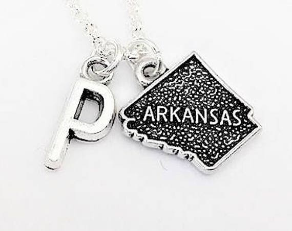 Arkansas charm necklace, personalized initial necklace, initial charm necklace Arkansas state jewelry personalized gift for her, best friend