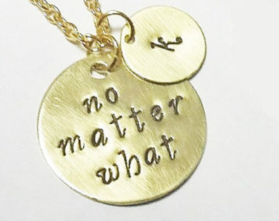 no matter what necklace, gold necklace, best friends necklaces, personalized initial charm, birthday gift, bff bffl jewelry her handstamped