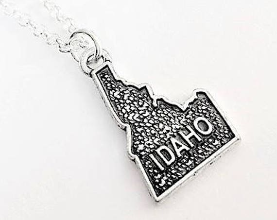Tiny Idaho necklace, home state necklace Idaho state necklace, home state jewelry, personalized gift for her, Idaho outline, map charm