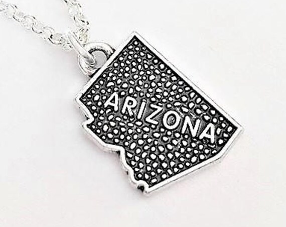 Tiny Arizona necklace, home state necklace Arizona state necklace, home state jewelry, personalized gift for her, silver necklace, map charm