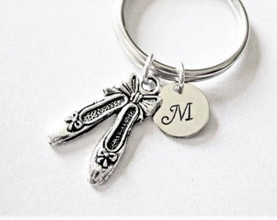 personalized keychain, ballet slippers key chain, initial key chain, ballerina keychain dancer gift for best friend, keyring initial, dance