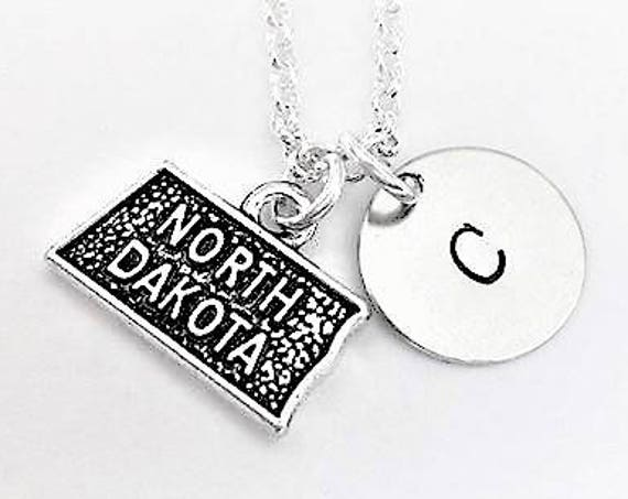 North Dakota state necklace personalized initial necklace custom jewelry, map necklace friendship best friend no matter where monogram gift