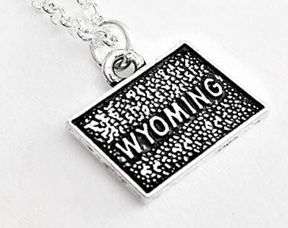 Tiny Wyoming necklace, silver state jewelry, map pendant, home state necklace, home state jewelry personalized gift for her Wyoming outline