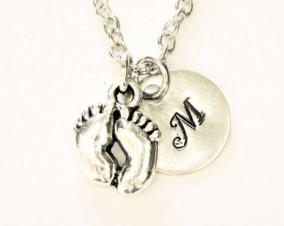 Personalized Baby Foot Necklace, silver initial jewelry, hand stamped initial charm, baby feet necklace, engraved necklace, new mom