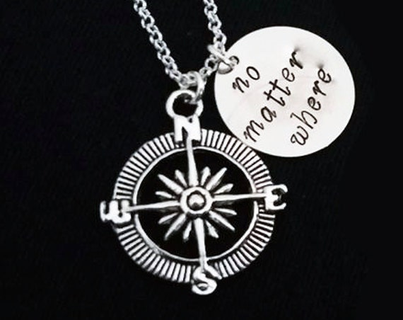 Compass Charm Necklace No Matter Where Personalized Jewelry Friendship Gift Long Distance Relationship Nautical Necklace Travel necklace
