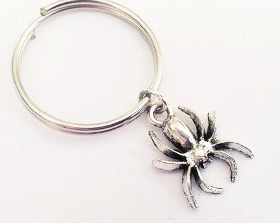 Spider keychain, Halloween keychain, black widow, silver keychain, tarantula keychain spider accessories, spider charm, brother gift for him