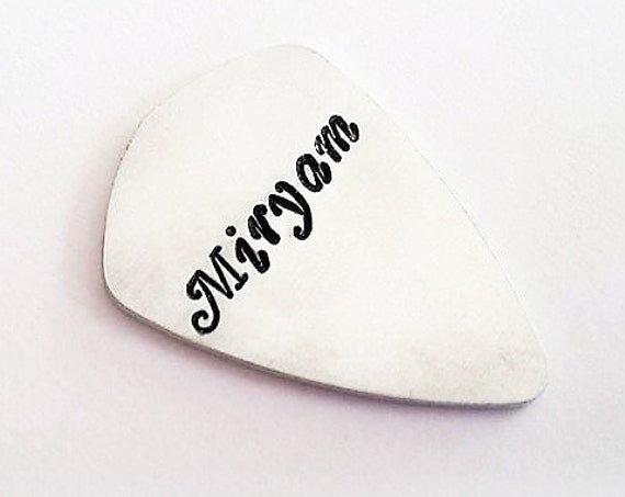 Daughter name guitar pick, Father's Day gift for him, personalized guitar pick children names child son new daddy gift musician hand stamped