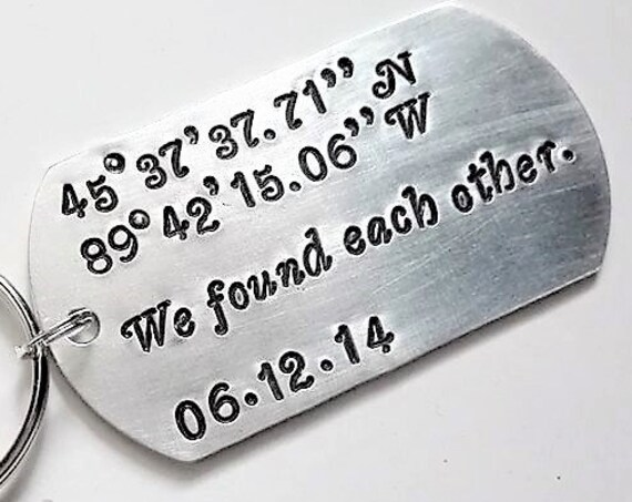 Coordinates keychain, Latitude Longitude keyring, We found each other keychain, Anniversary gift for him, date key chain, men's gift for man