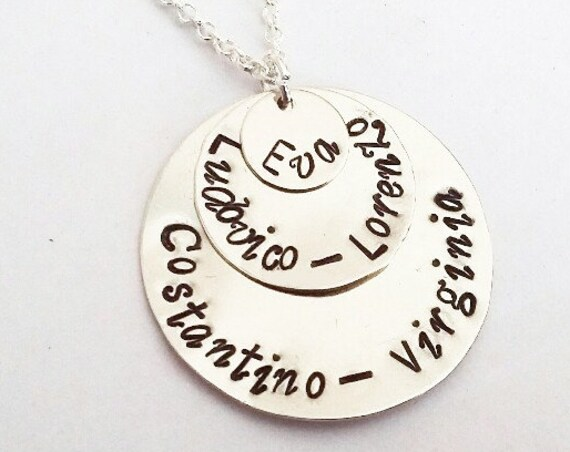 3 Layered Disc Necklace, Hand Stamped Kids Name Necklace for Mom, Grandma necklace, five names, five children charms Christmas gift for wife