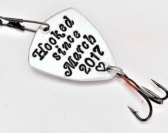 Personalized boyfriend gift been hooked on you since custom date or personalised text fishing lure stocking stuffer for him present for man