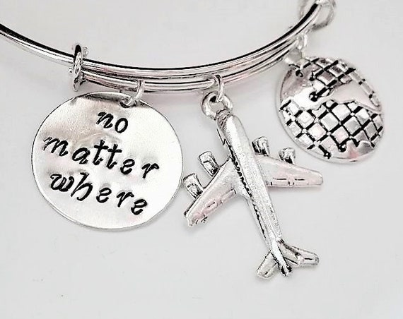 No matter where bangle bracelet Globe charm Personalized Hand Stamped gift Long Distance Expandable Plane charm stackable bracelet moving