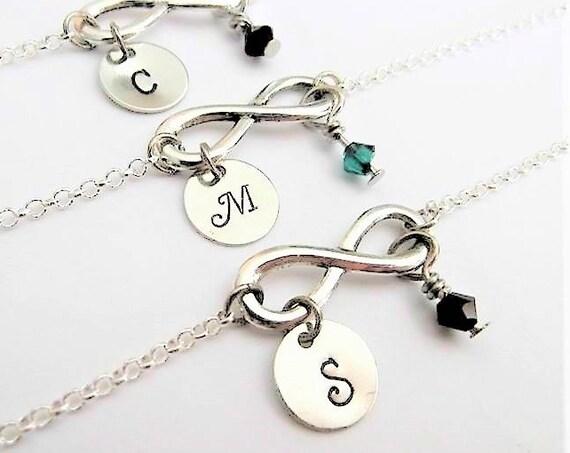 3 personalized infinity bracelet, three bridesmaid gifts, best friends jewelry, friendship gift custom initial birthstones eternity bracelet