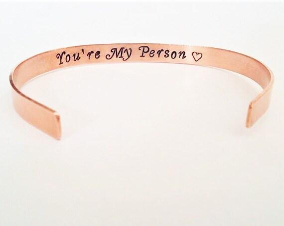 You're My Person bracelet, cuff bracelet, personalized hidden message, custom secret message, stocking stuffer, best friend gift for her